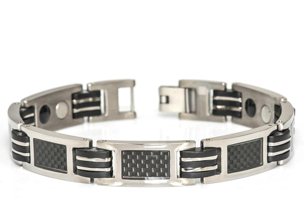Black Carbon fiber Inlay Titanium Bracelet