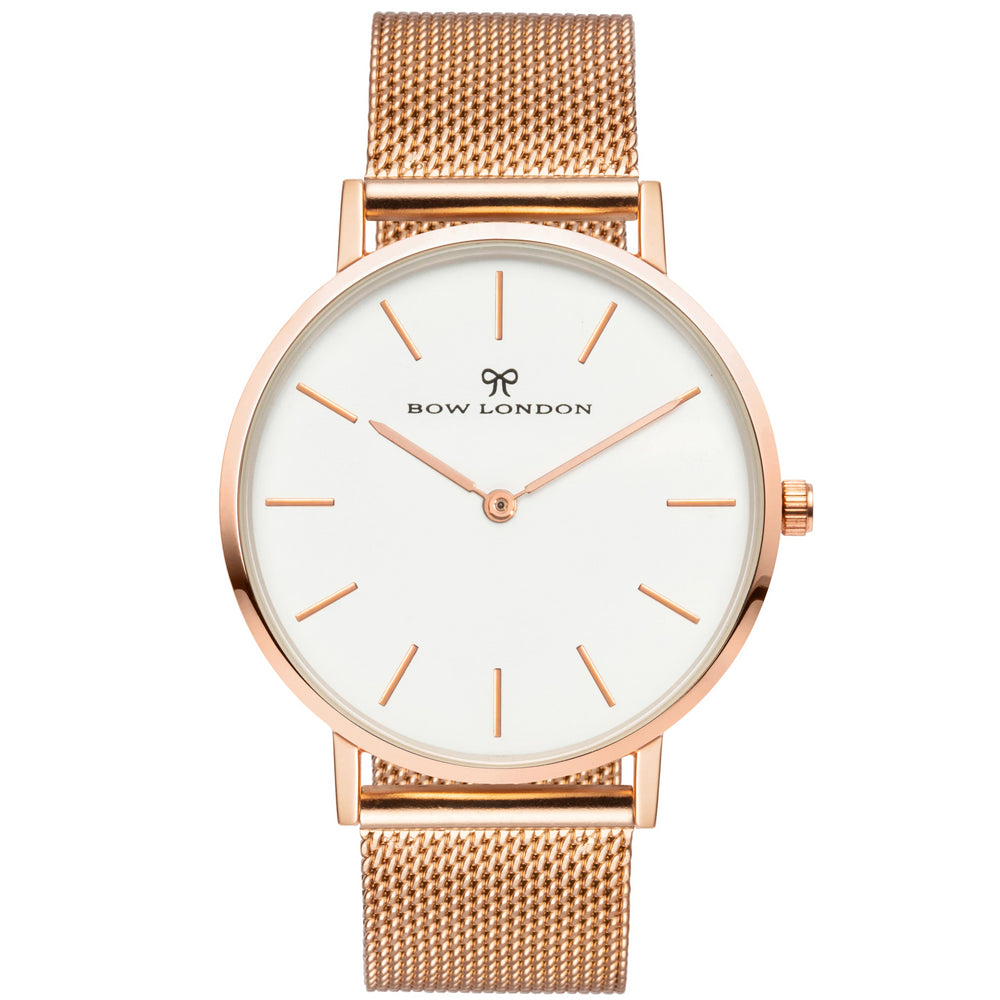 Rose Gold and White Face Watch | Rose Gold Mesh Watch Strap | Bow London | Classic X Rose