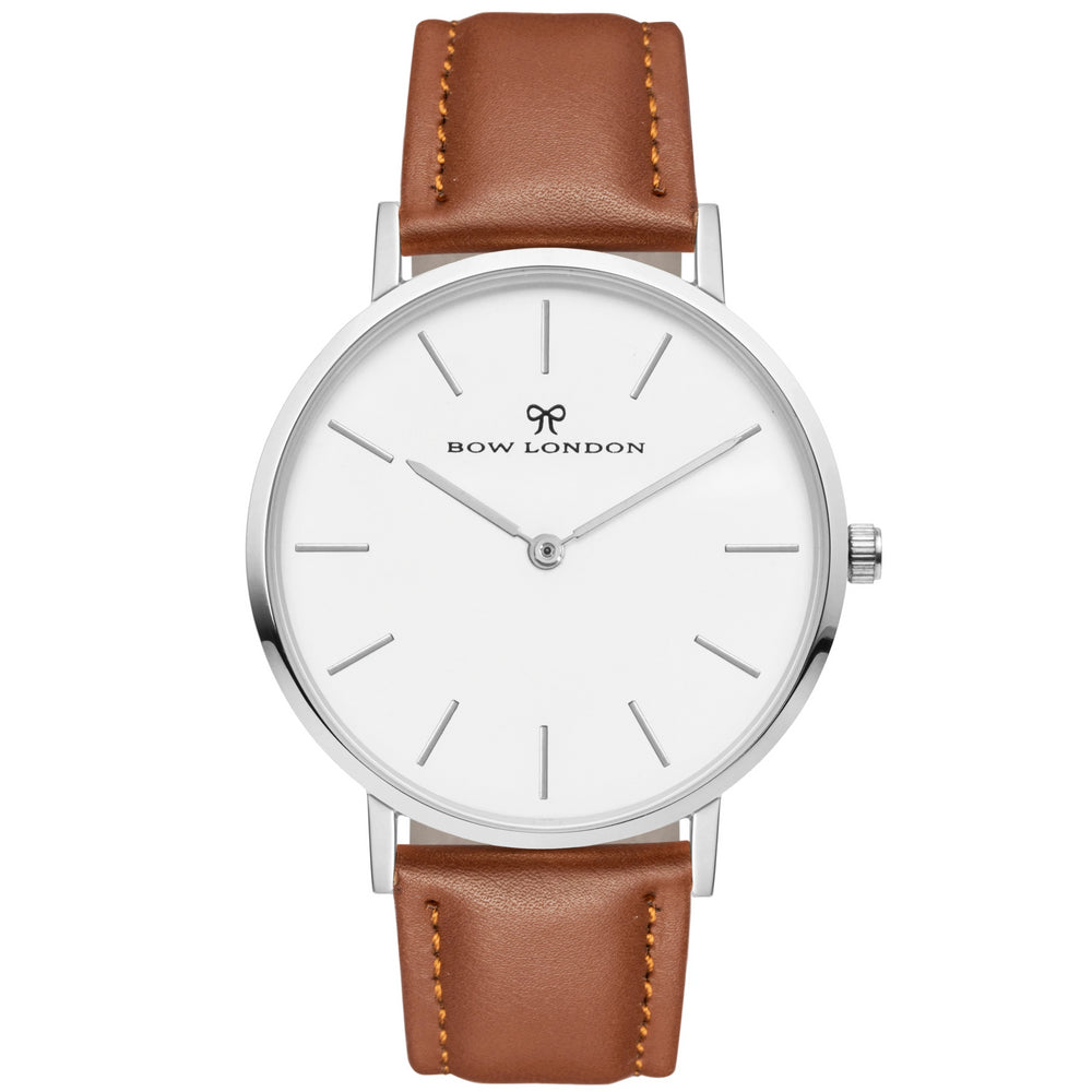 Silver and White Face Watch | Brown Leather Watch Strap | Bow London | Chelsea X Silver