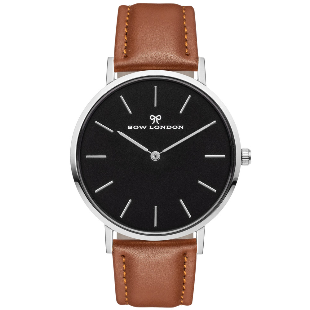 Silver and Black Face Watch | Brown Leather Watch Strap | Bow London | Mono Chelsea X Silver