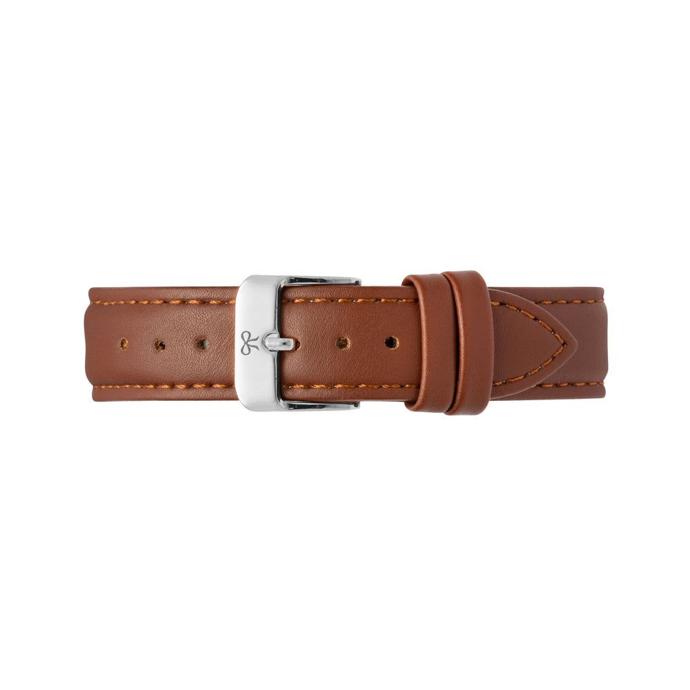 Silver and Brown Leather Watch Strap | Bow London | Chelsea X Silver