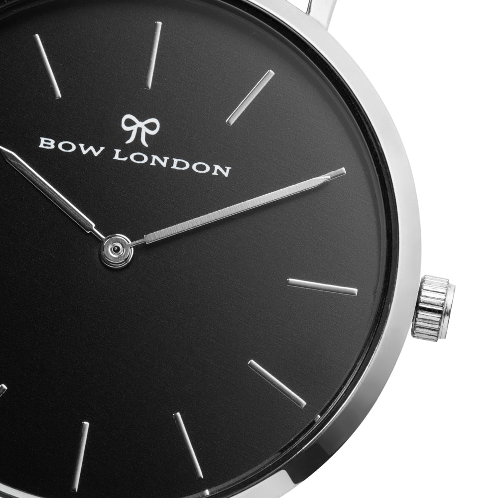 Silver and Black Face Watch | Silver Mesh Watch Strap | Bow London | Mono Chelsea X Silver