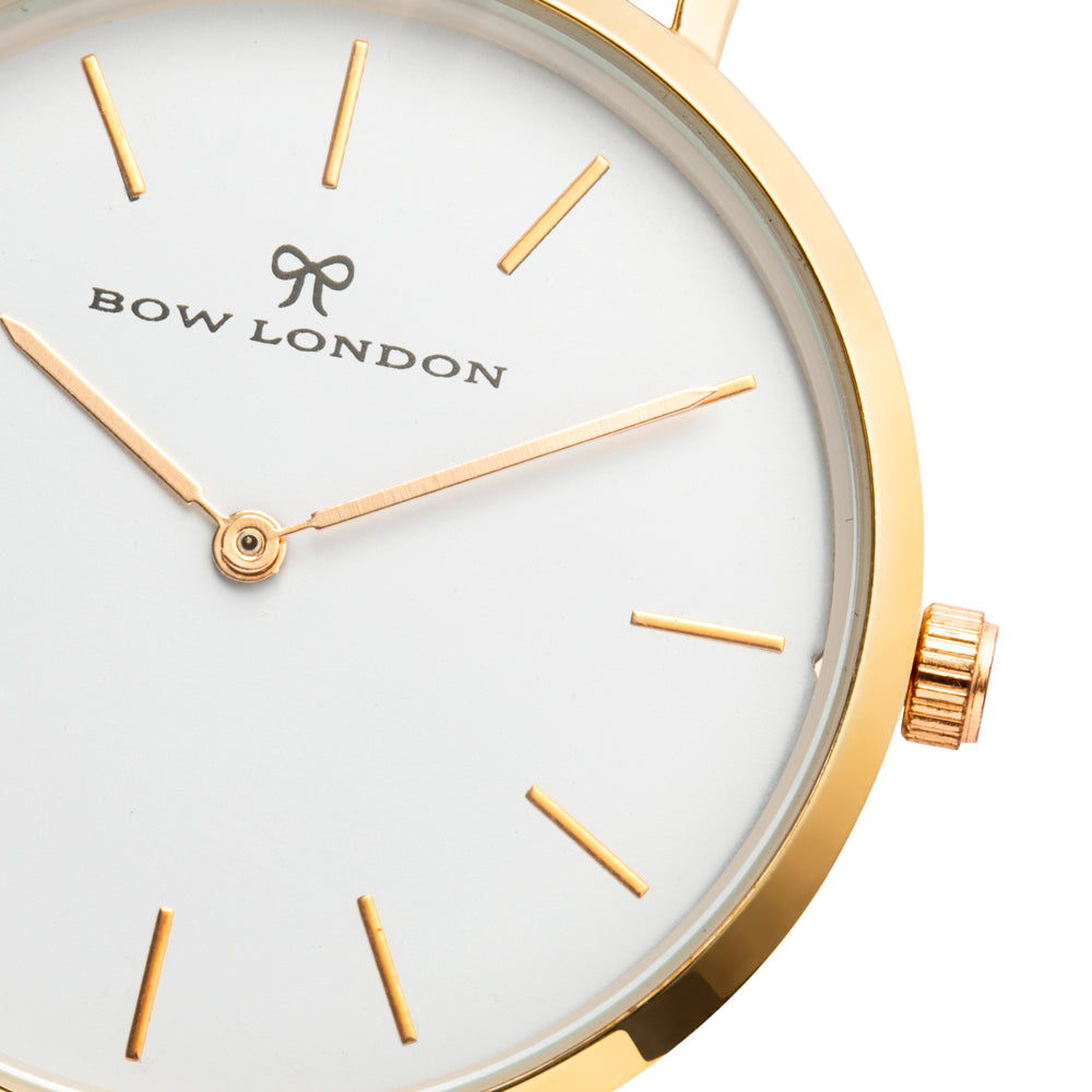 Gold and White Watch Face | Bow London | Classic X Gold