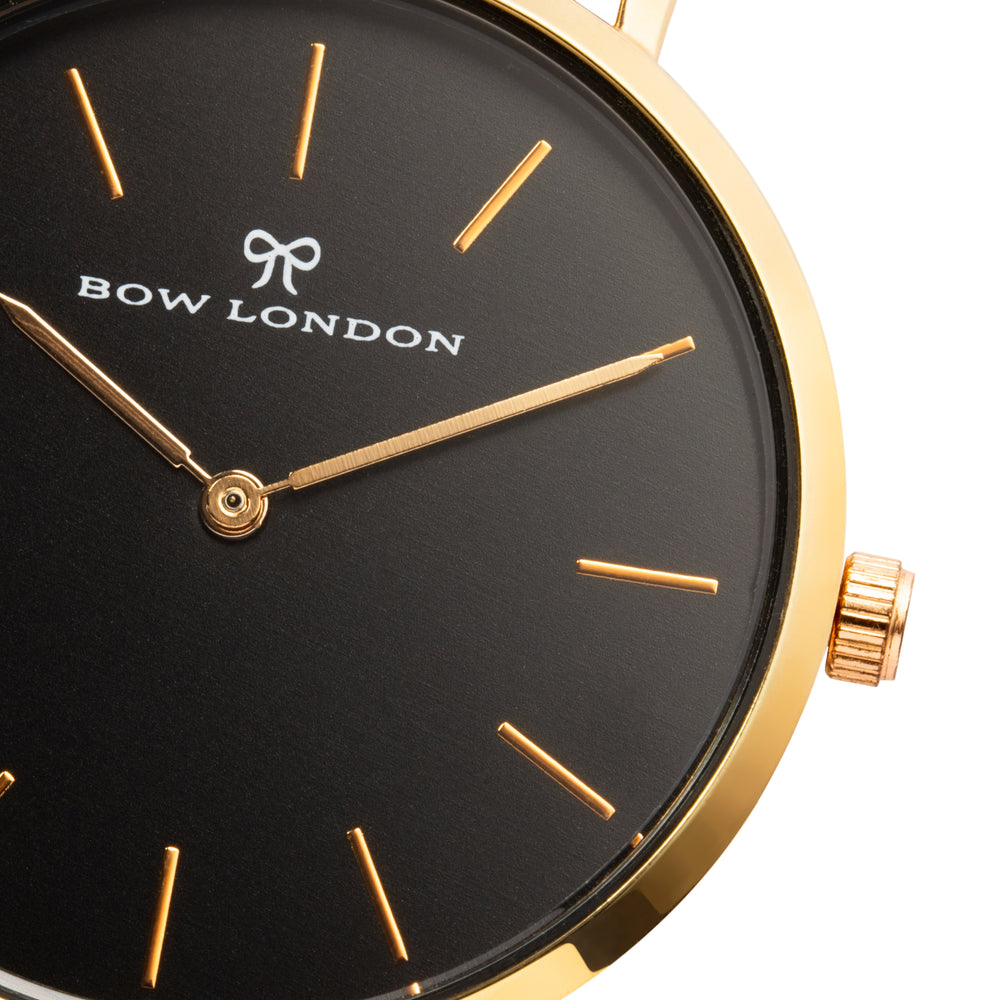 Gold and Black Watch Face | Bow London | Classic Mono X Gold