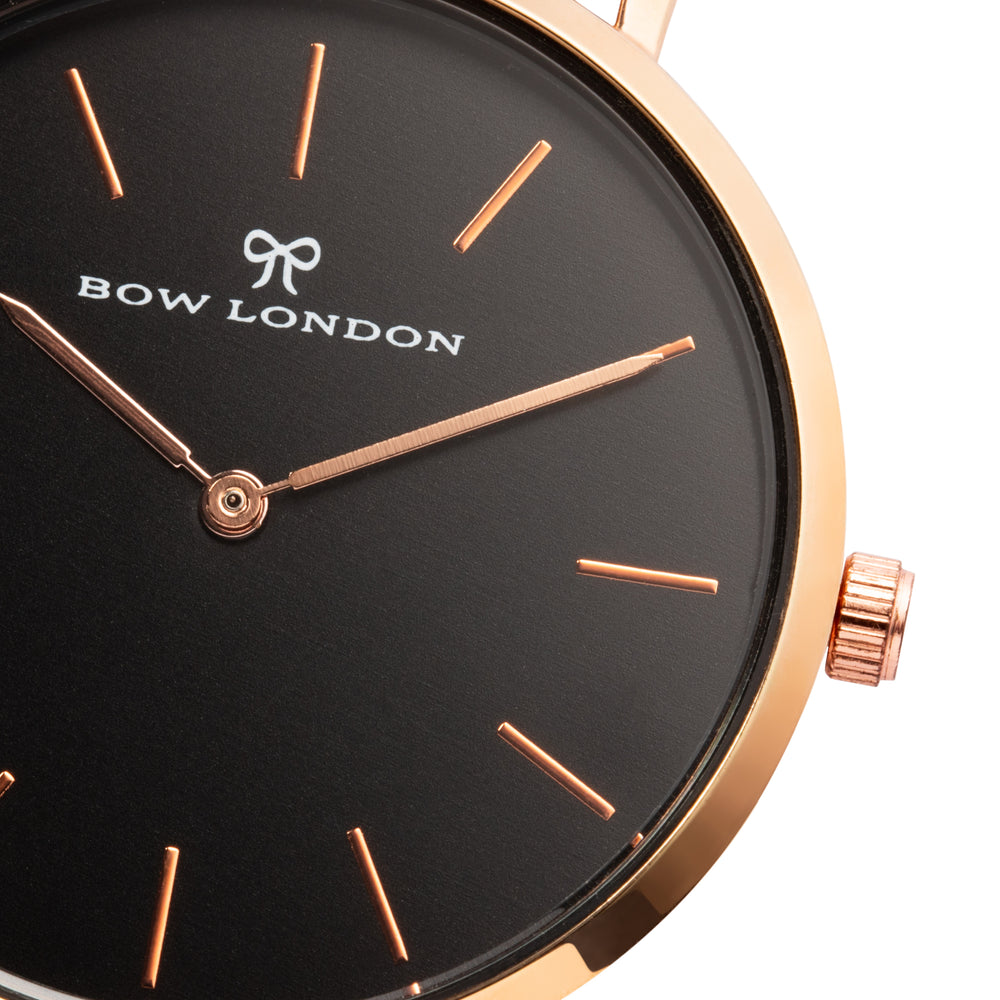 Rose Gold and Black Leather Watch Strap | Bow London | Chelsea X Rose