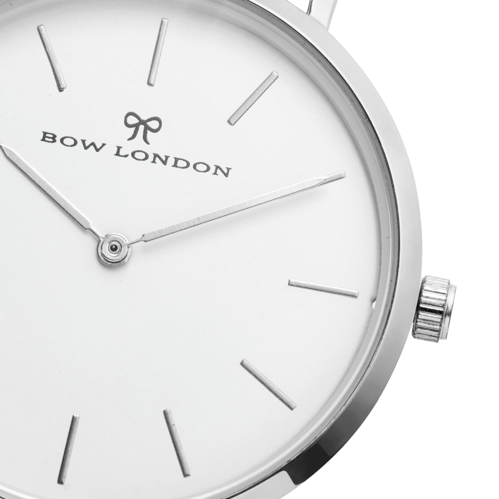 Silver and White Watch Face | Bow London