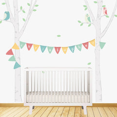 Birch Tree with Bunting Wall Stickers