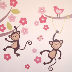 Pastel Monkey Blossom Tree Wall Sticker