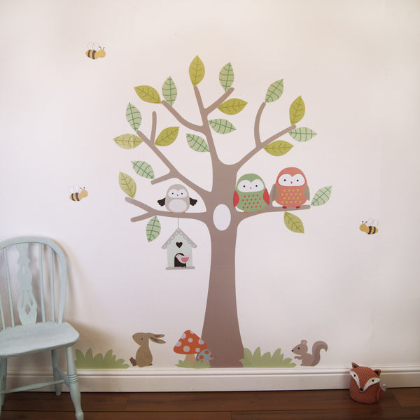 Tree With Owls And Bees Wall Sticker