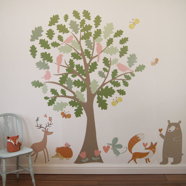 Oak Tree And Animals Woodland Wall Stickers