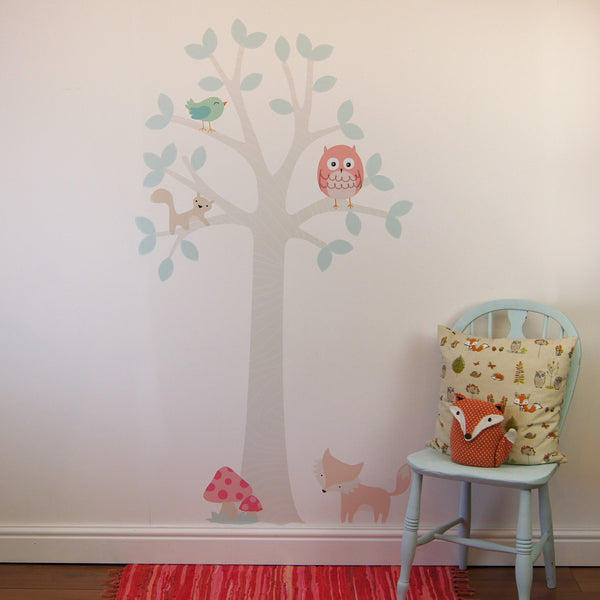 Pastel Forest Tree With Owl Wall Sticker