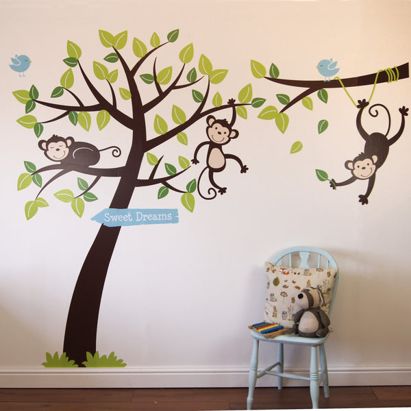 Monkey Tree and Branch Vine Wall Sticker