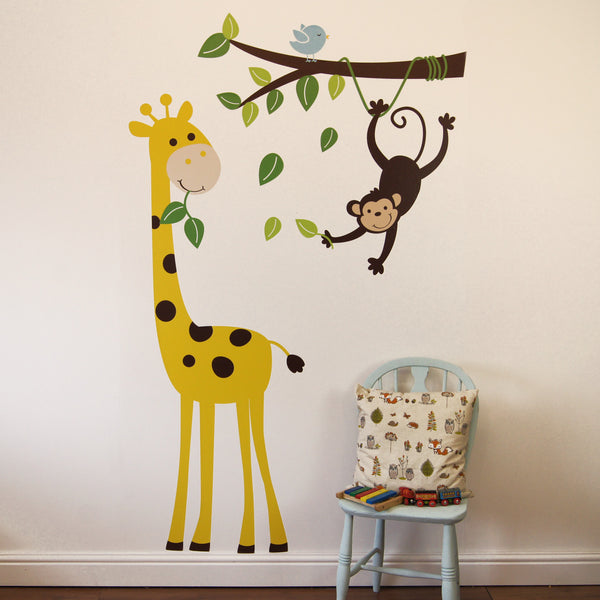 Monkey Branch And Giraffe Wall Sticker