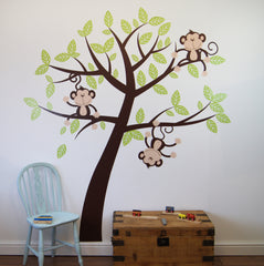 Childrens Cheeky Monkey Tree Wall Stickers