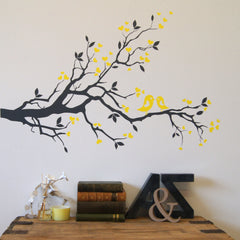 love birds on blossom branch - dark grey branch with yellow birds