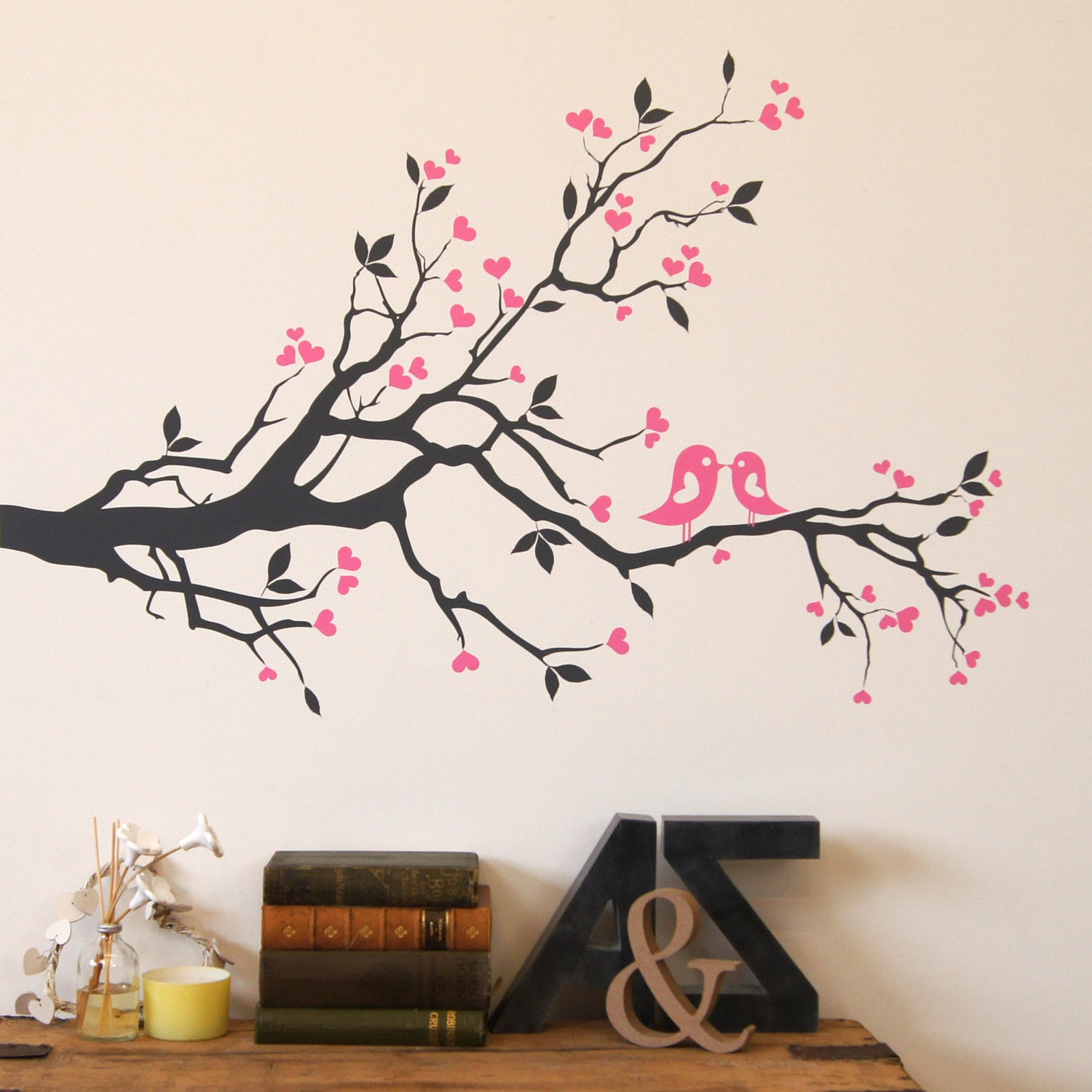 Love birds o n blossom branch - darg grey branch with pink birds