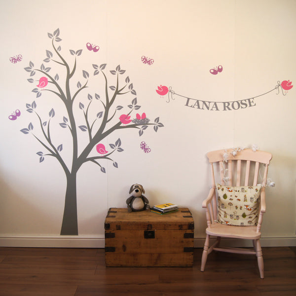 Personalised birds nest tree wall sticker