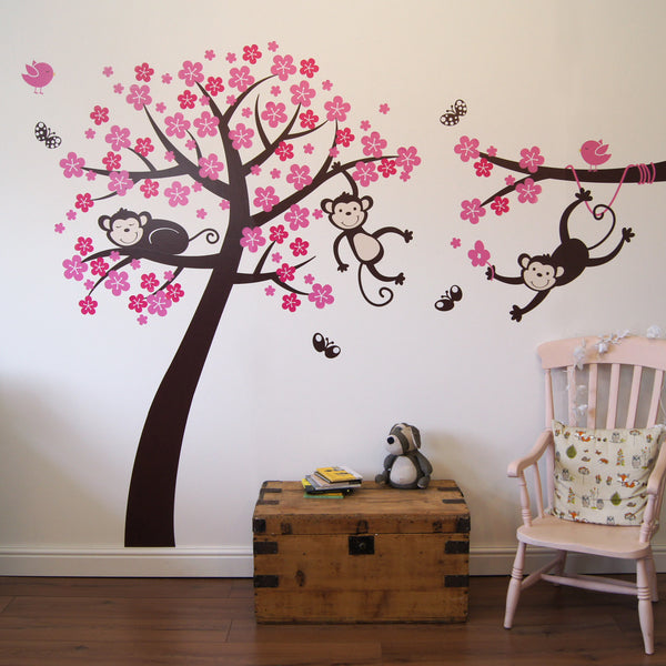 Monkey Blossom Tree Wall Stickers Part 83