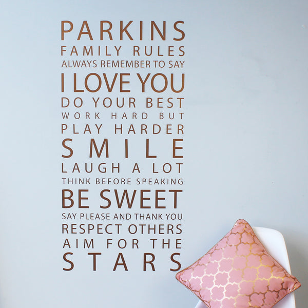 Personalised Metallic Gold 'Family Rules' Wall Sticker