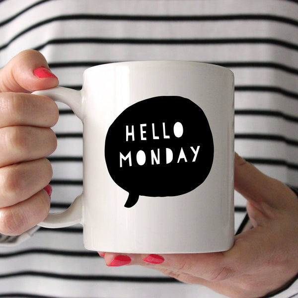 Hello Monday Printed Ceramic Mug