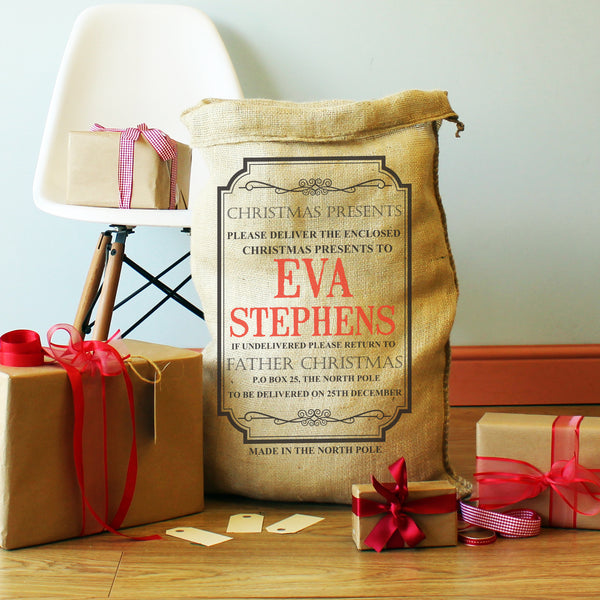 Children's Personalised Christmas Present Sack