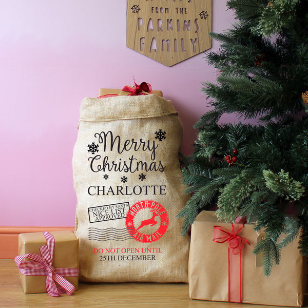 Personalised Merry Christmas Children's Present Sack