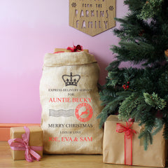 Children's Personalised Family Present Gift Sack