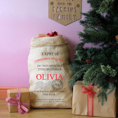 Personalised Express Christmas Present Sack