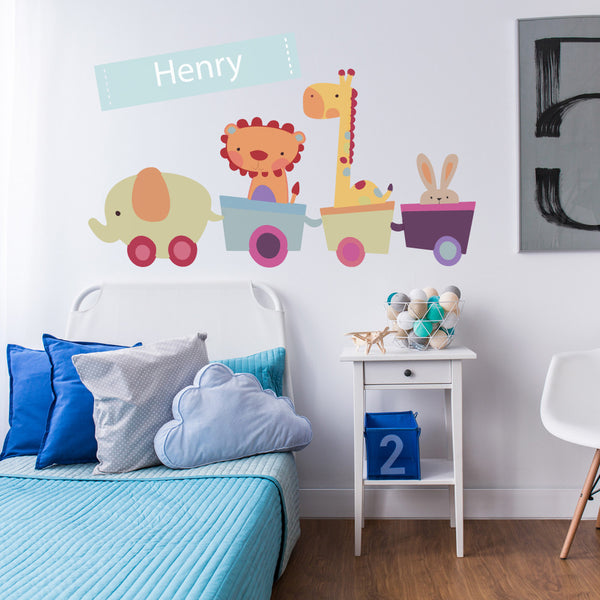 Personalised Animal Train Wall Sticker