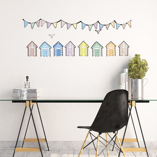 Beach Huts Wall Stickers