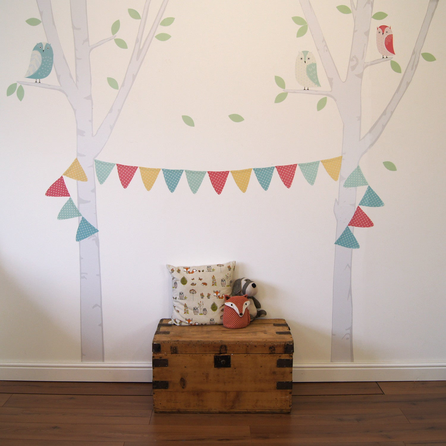 Birch tree with bunting personalsed wall sticker