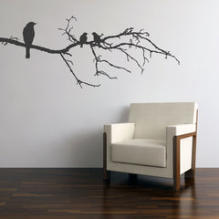 Black Birds on Branch Wall Stickers