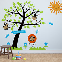 Children's Monkey Tree Wall Stickers