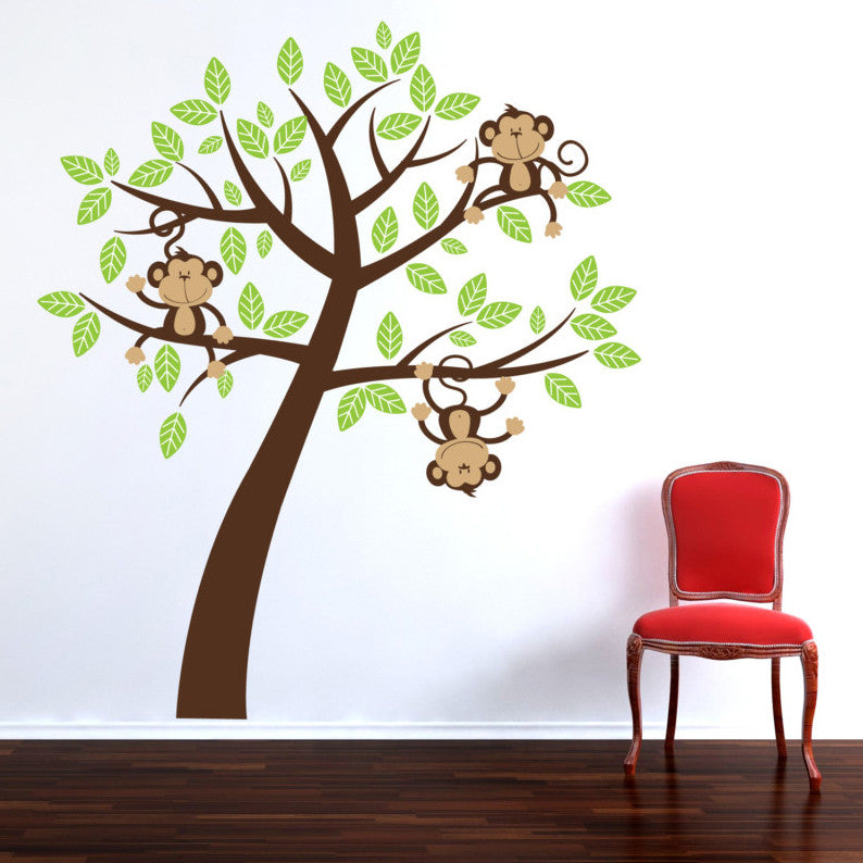 childrens cheeky monkey tree wall stickers parkins interiors. Black Bedroom Furniture Sets. Home Design Ideas