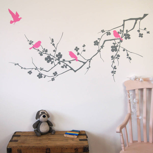 Childrens Birds On Branch Wall Stickers