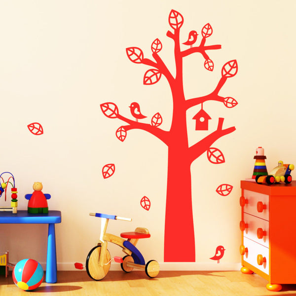 Tree With Bird House Wall Sticker