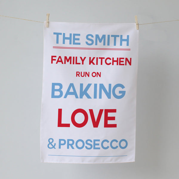 Family Kitchen Surname. Personalised Tea Towel