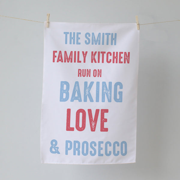 Family Kitchen Name. Personalised Tea Towel
