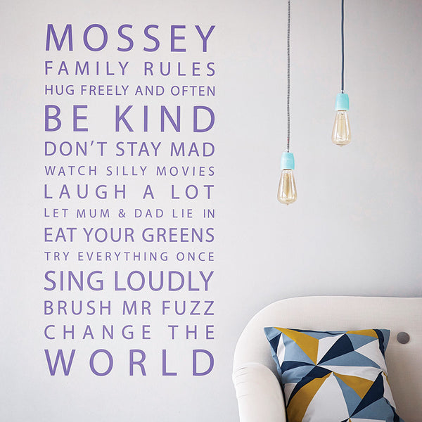 Personalised Family Rules Wall Stickers