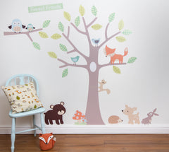 Pastel Forest Friends Blue Wall Stickers