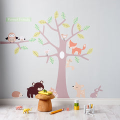 Pastel Forest Friends Neutral Wall Stickers