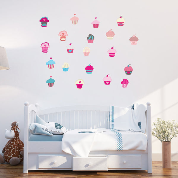 Girls Cupcakes Wall Stickers