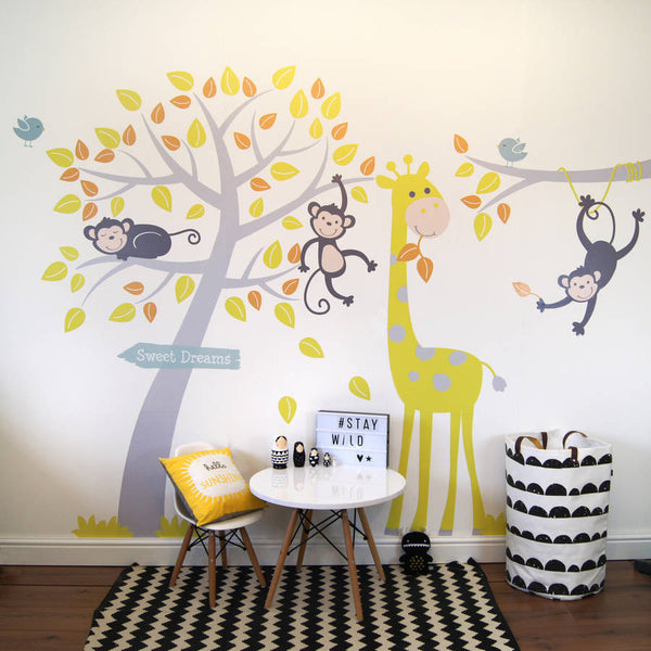 Grey And Yellow Animals And Tree Wall Stickers