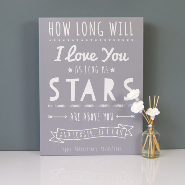 How Long Will I Love You Personalised Canvas Print