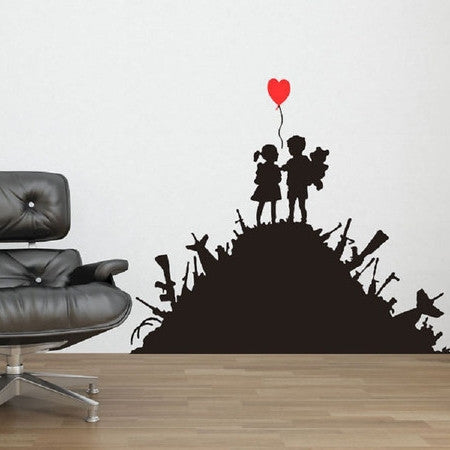 Banksy Kids on Guns Wall Stickers