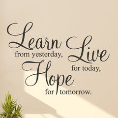 Learn Live Hope Wall Stickers Quote