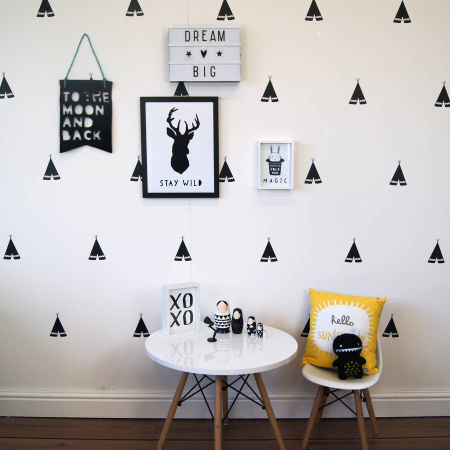 Monochrome Teepee Wall Stickers