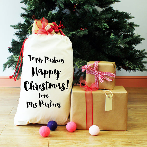 Personalised Mr and Mrs Christmas Present Sack