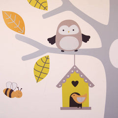 Muted Tree With Owls And Bees Wall Stickers