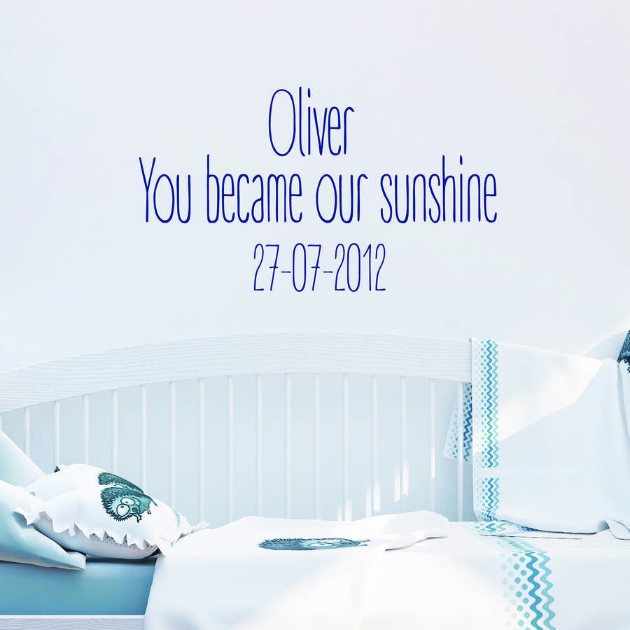 Became Our Sunshine Baby Nursery Wall Stickers